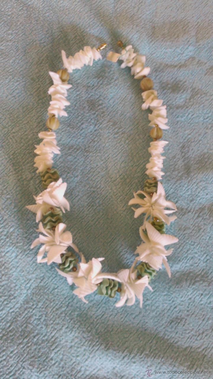 Artesanía: Bonito collar hecho a mano de conchas de mar blanco y verde. - Foto 2 - 43993582