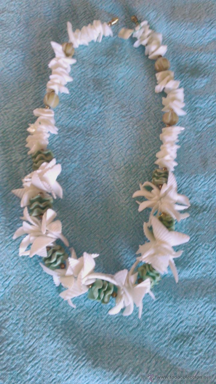 Artesanía: Bonito collar hecho a mano de conchas de mar blanco y verde. - Foto 5 - 43993582