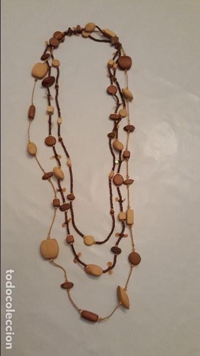 Artesanía: f 2683 LARGO COLLAR TRIPLE DE MADERAS TROPICALES, BAMBU, COCO... Largo maximo doblado 60 cm. - Foto 2 - 67048822