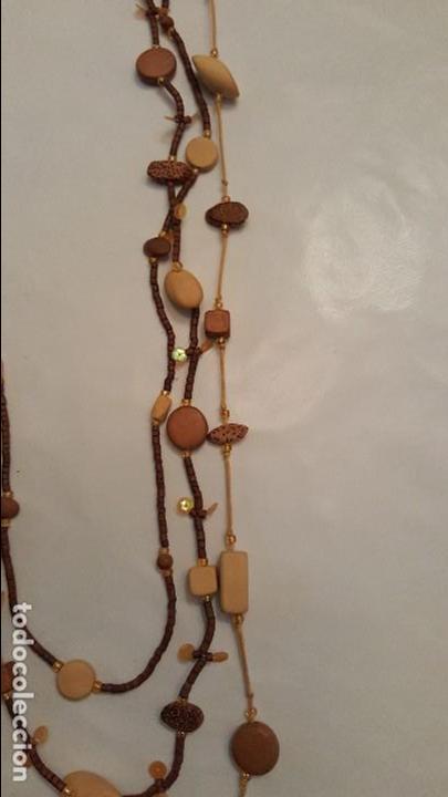 Artesanía: f 2683 LARGO COLLAR TRIPLE DE MADERAS TROPICALES, BAMBU, COCO... Largo maximo doblado 60 cm. - Foto 3 - 67048822