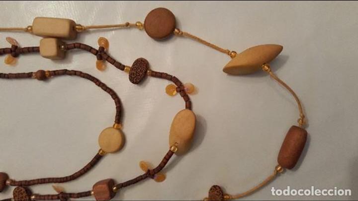 Artesanía: f 2683 LARGO COLLAR TRIPLE DE MADERAS TROPICALES, BAMBU, COCO... Largo maximo doblado 60 cm. - Foto 5 - 67048822