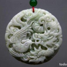 Artesanía: CHINA - COLGANTE DE JADE BLANCO NATURAL - DRAGON PHOENIX. Lote 70150225