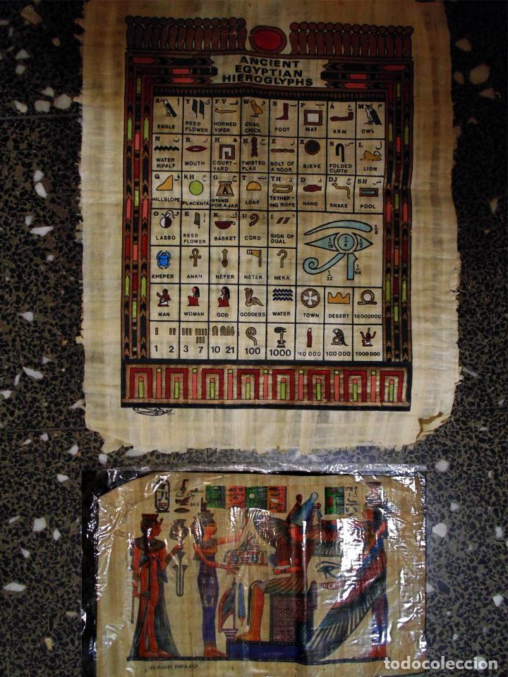 DOS PAPIROS EGIPCIOS , ALFABETO EGIPCIO PINTADO A MANO.ORIGINALES. 45X35 Y 30 X 21 CMS (Artesanía - Collares)