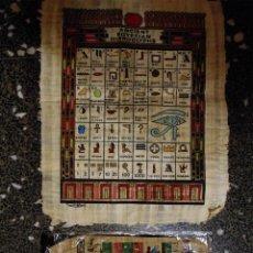 Artesanía: DOS PAPIROS EGIPCIOS , ALFABETO EGIPCIO PINTADO A MANO.ORIGINALES. 45X35 Y 30 X 21 CMS. Lote 74204847