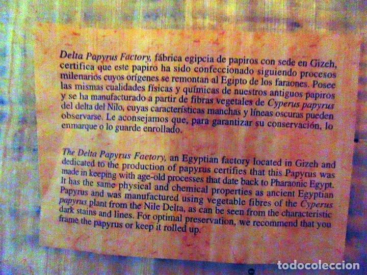 Artesanía: DOS PAPIROS EGIPCIOS , ALFABETO EGIPCIO PINTADO A MANO.ORIGINALES. 45X35 Y 30 X 21 CMS - Foto 2 - 74204847