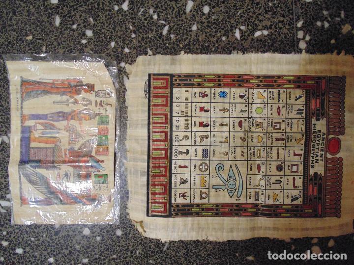 Artesanía: DOS PAPIROS EGIPCIOS , ALFABETO EGIPCIO PINTADO A MANO.ORIGINALES. 45X35 Y 30 X 21 CMS - Foto 4 - 74204847