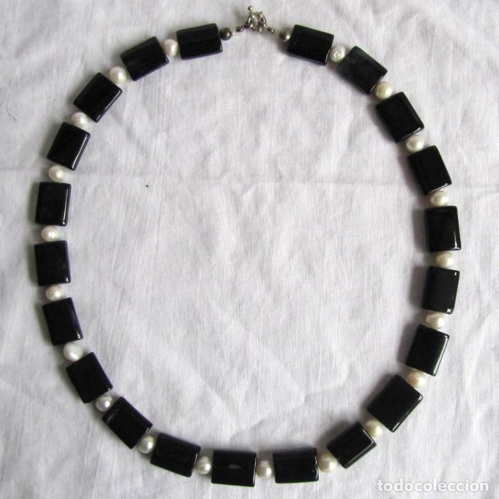 aliexpress gran descuento venta mejor mayorista Collar cuarzo negro (onix) con perlas de agua dulce Broche metal bañado