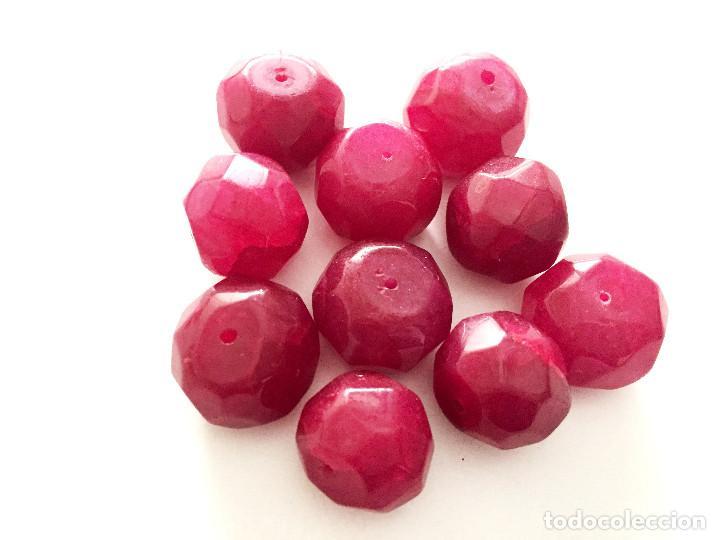 Artesanía: Lote 10 cuentas granos facetados de Rubi natural hecha a mano - Hand carved Ruby beads - Foto 3 - 91077450