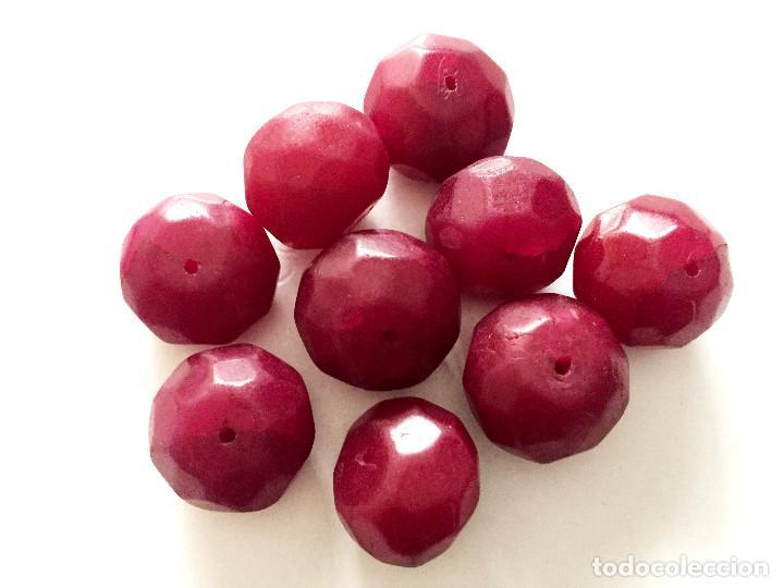 Artesanía: Lote 9 cuentas abalorios granos de Rubi natural hechas a mano - Hand carved beads - ETN accepted - Foto 3 - 91080620