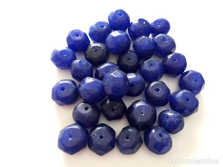Artesanía: Lote 30 cuentas abalorios facetados de Zafiro natural hechas a mano - Hand carved Sapphire beads - Foto 3 - 91081905
