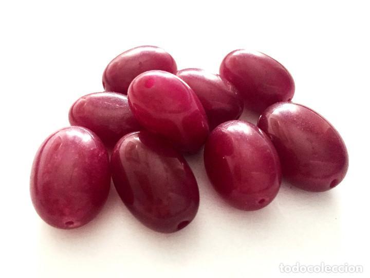 Artesanía: Lote 9 cuentas abalorios de Rubi natural hechas a mano - Big Hand carved Ruby beads - Foto 3 - 142694049
