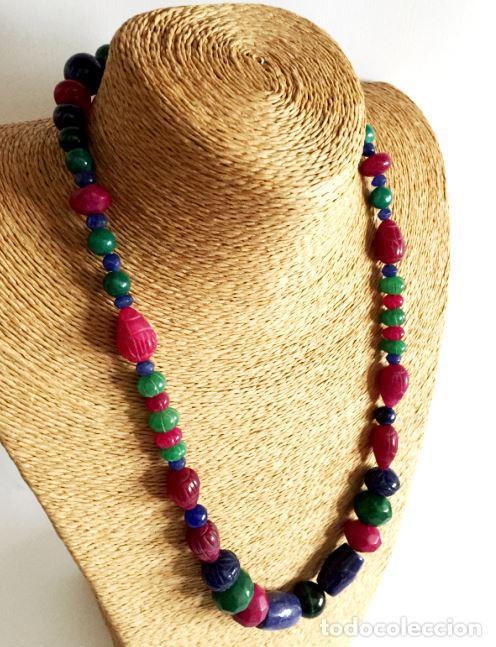 Artesanía: Collar de Cuentas hechas a mano de Rubies, Zafiros, Esmeraldas y Lapislázuli - Foto 2 - 99460631