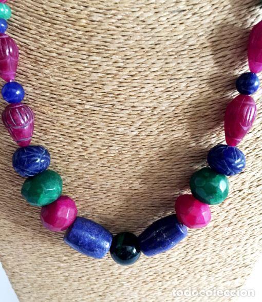 Artesanía: Collar de Cuentas hechas a mano de Rubies, Zafiros, Esmeraldas y Lapislázuli - Foto 3 - 99460631