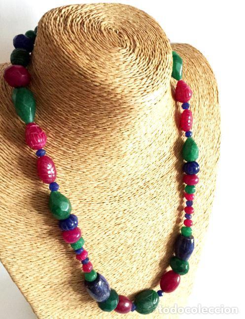 Artesanía: Collar de Cuentas hechas a mano de Rubies, Zafiros, Esmeraldas y Lapislázuli - ETN accepted - Foto 3 - 99460875