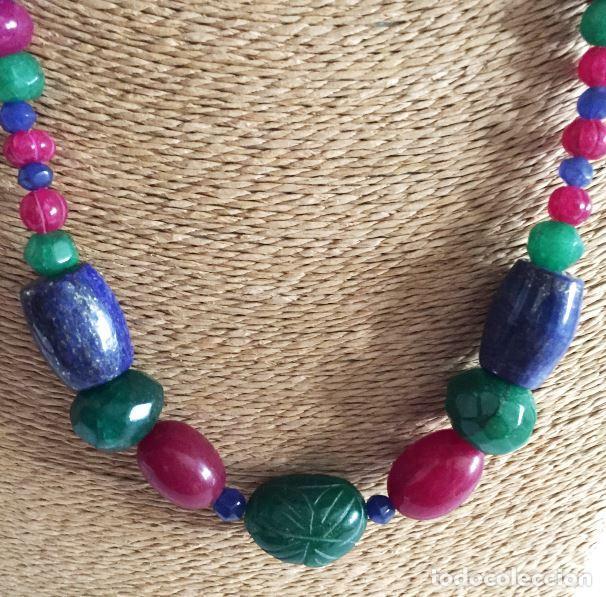 Artesanía: Collar de Cuentas hechas a mano de Rubies, Zafiros, Esmeraldas y Lapislázuli - ETN accepted - Foto 4 - 99460875