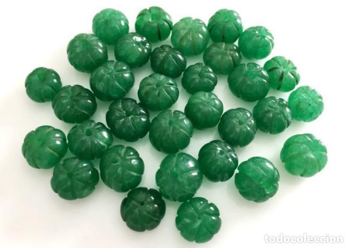 Artesanía: Lote 32 cuentas de Esmeralda natural hechas a mano - Hand carved Ruby beads - Foto 2 - 101074527