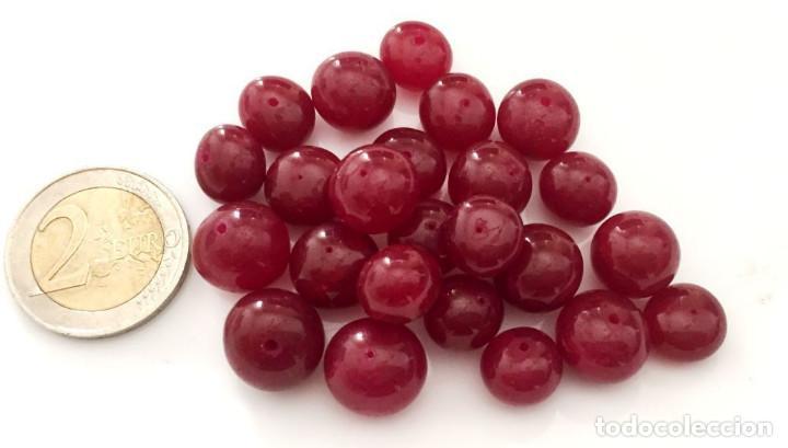 Artesanía: Lote 25 cuentas de Rubi natural hechas a mano - Hand carved Ruby beads - Foto 2 - 101075195