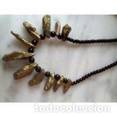 Artesanía: COLLAR PIEDRA NATURAL CUARZO DRUZY DORADO. Lote 137349822