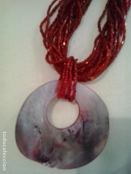 Artesanía: Collar cuentas cristal rojo ,Colgante concha - Foto 4 - 151587682