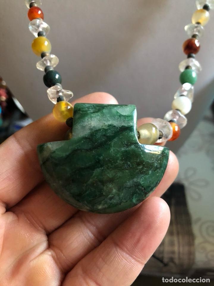 Artesanía: Bonito collar con gran malaquita central, pedrería y cristal - Foto 2 - 167110432