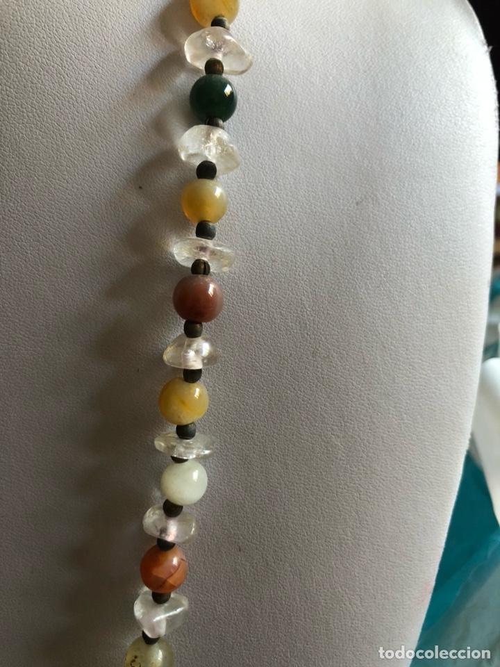 Artesanía: Bonito collar con gran malaquita central, pedrería y cristal - Foto 3 - 167110432