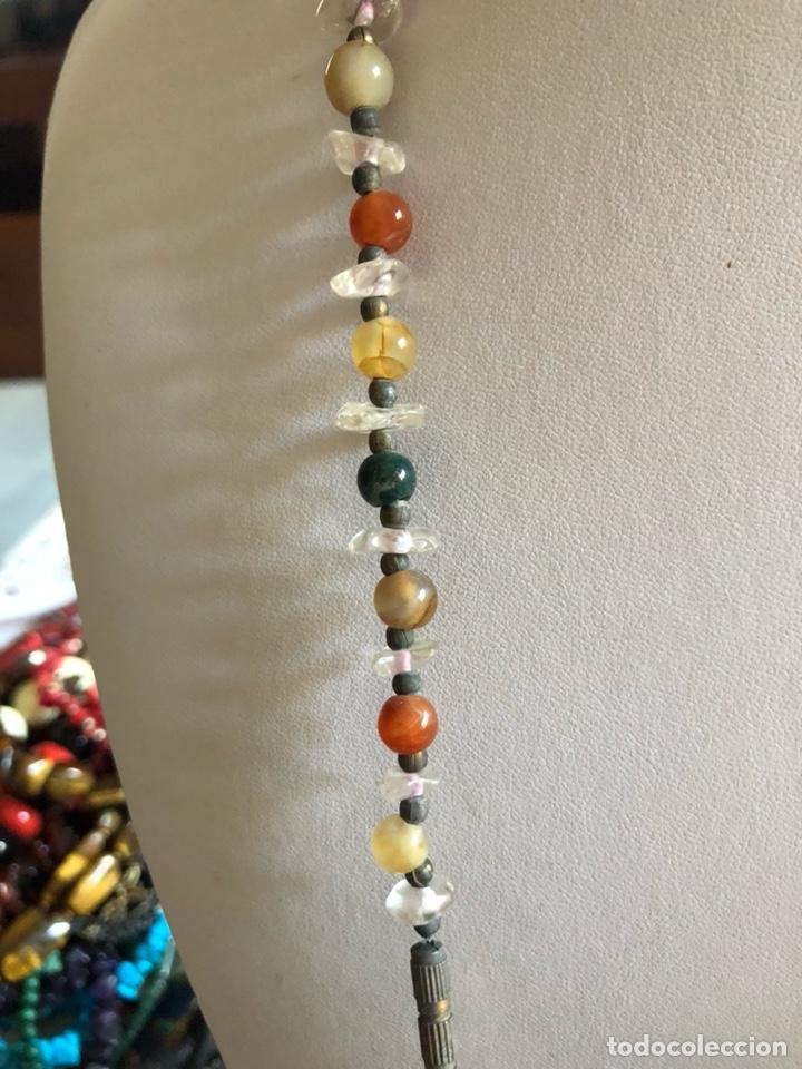Artesanía: Bonito collar con gran malaquita central, pedrería y cristal - Foto 4 - 167110432