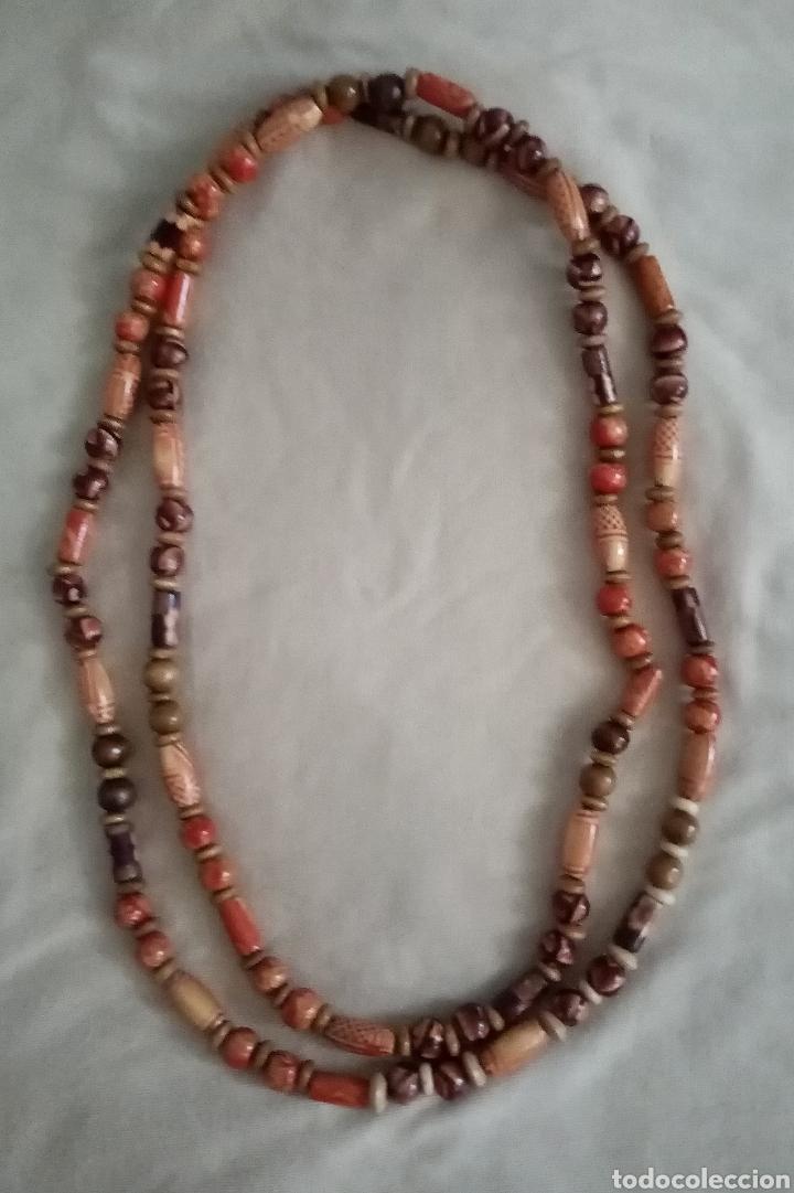 Artesanía: Precioso collar o gargantilla de dos vueltas con 179 cuentas de madera 18gr. Muy ligero - Foto 4 - 214643065