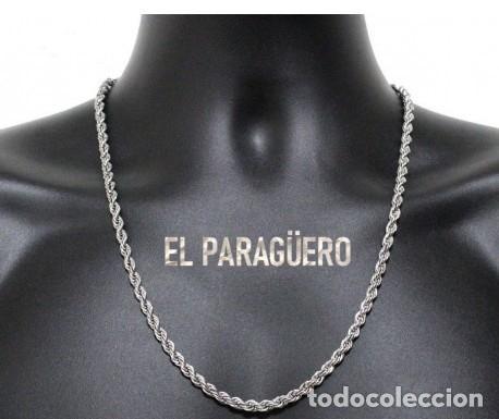 CORDON RIZADO DE ORO BLANCO DE 18 KILATES LAMINADO - MIDE 67,5 X 0,4 CM PESA 26 - Nº1 (Artesanía - Collares)
