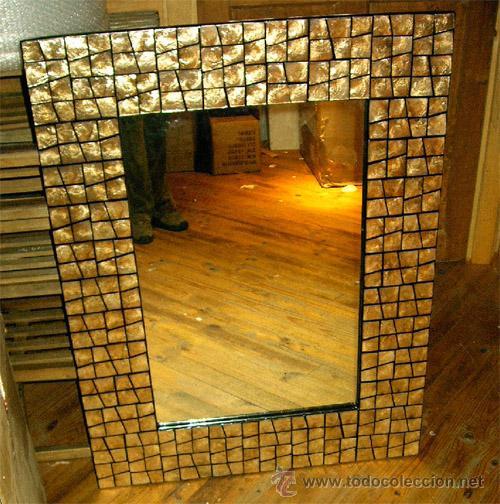 Marco de nacar con espejo artesanal medidas 1 comprar Marcos para espejos artesanales