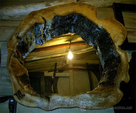 Marco r stico de madera con espejo de una sol comprar for Marcos para espejos de madera rusticos