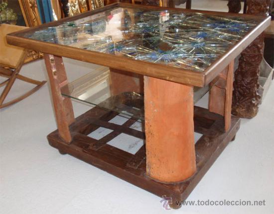 Mesa de madera forja vidrio barro medida 83 comprar - Artesania y decoracion ...