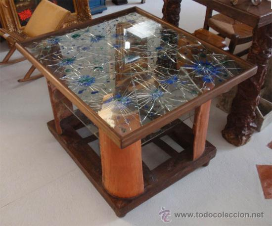 artesana mesa de madera forja vidrio barro medida