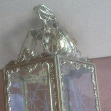 Artesanía: FANTASTICA LAMPARA TIPO FAROL ESTILO FRANCES BRONCE Y CRISTAL TALLADO 43X28 CMS. Lote 37637561