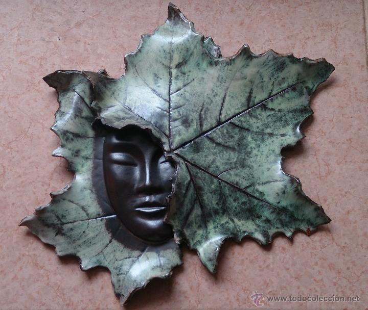 Artesanía: Magnifica mascara en terracota con hojas de parra, hecha a mano . - Foto 2 - 40597192