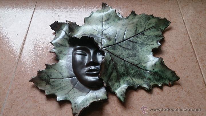 Artesanía: Magnifica mascara en terracota con hojas de parra, hecha a mano . - Foto 3 - 40597192