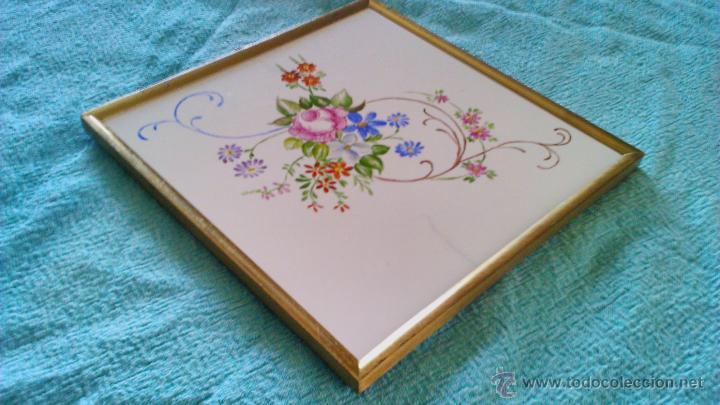 Artesanía: Azulejo enmarcado y pintado a mano. METTLACH MADE IN GERMANY - Foto 3 - 43866129