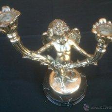 Artesanía: PRECIOSO ANGEL PORTAVELAS. BASE MARMOL. Lote 49387573