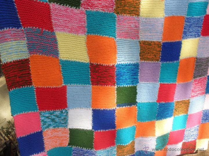 Manta a crochet o de punto en lana multicolor comprar - Mantas de punto a dos agujas ...