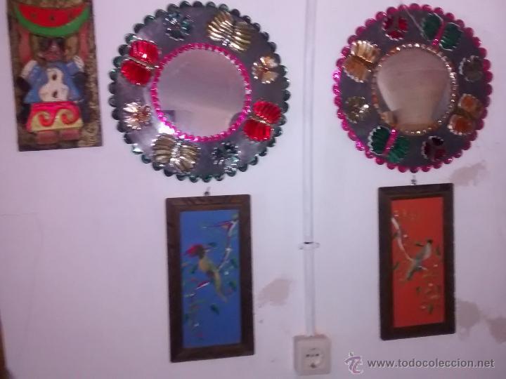 lote de piezas de decoracin espejos cuadros hechos con plumas y