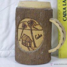 Artesanía: PRECIOSA JARRA ARTESANA DE CUBA *** MADERA TALLADA Y LEYENDA PIROGRAFIADA ***. Lote 54013149
