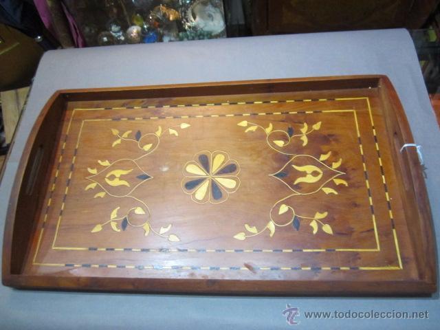 Antigua Bandeja De Madera Decorada Marquetería Manual 49 X 295 Cms