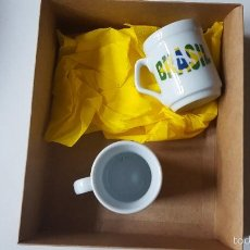 Artesanía: TACITAS DE CAFÉ LOGOTIPO DE BRASIL. PORCELANA.. Lote 56328539