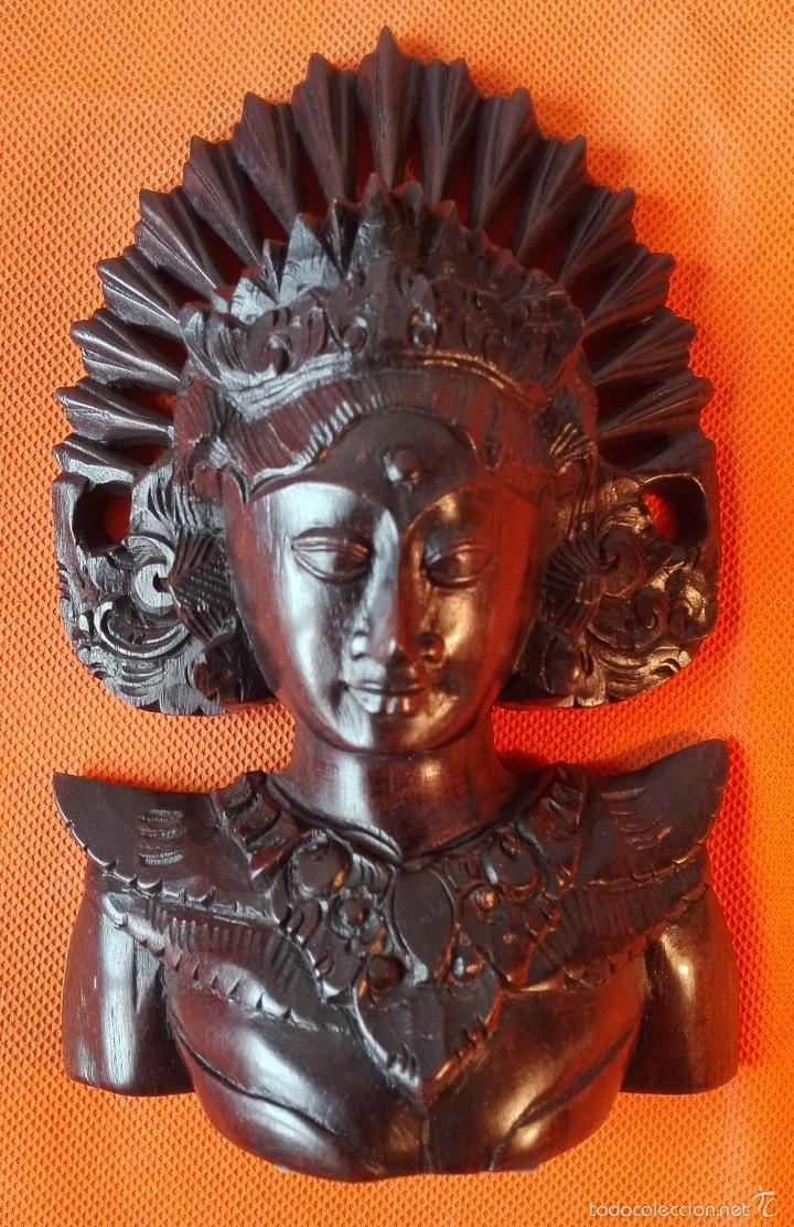 TALLA DE MADERA 1. BUSTO DE MUJER. INDONESIA. AÑOS 80. (Artesanía - Hogar y Decoración)