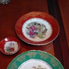 Artesanía: PLATOS DE CERÁMICA CHINA, CON ANCLAJES A PARED. Lote 57511499