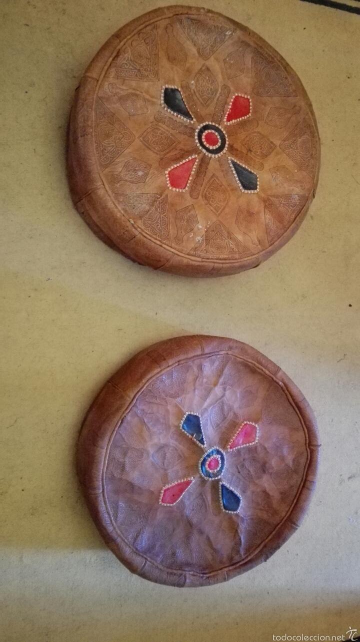 Artesanía: Pareja de puff en cuero +-50cm diametro - Foto 2 - 58592336
