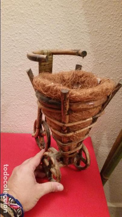 Artesanía: BICICLETA MACETERO MIMBRE MADERA ARTESANIA DECORACION - Foto 2 - 62816852
