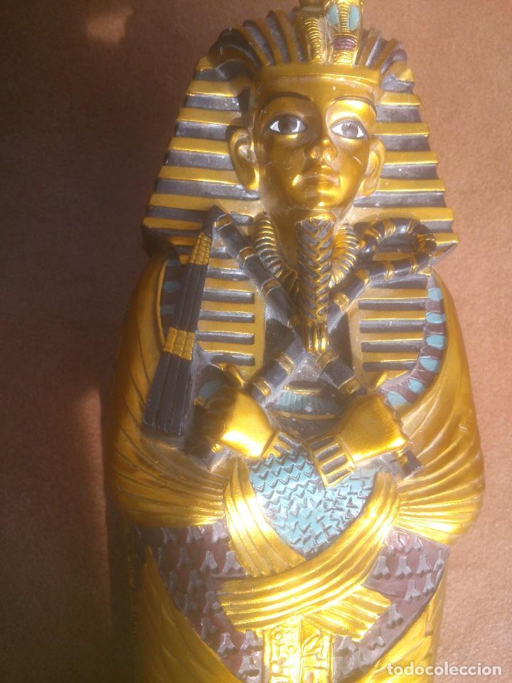 Artesanía: EGIPTO.SARCÓFAGO EGIPCIO POLICROMADO DEL FARAÓN TUTANKAMON.PINTADO A MANO. - Foto 3 - 67366386