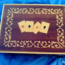 Artesanía: CAJA CARTAS DE MADERA, PARA 2 BARAJAS DE POKER. Lote 70372161