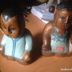 Artesanía: 2 TALLAS DE MADERA Y POLICROMADOS A MANO. Lote 76693419