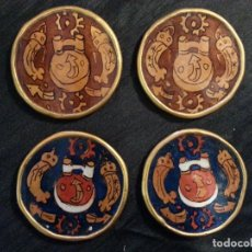 Artesanía: LOTE DE CUATRO POSAVASOS DE CRISTAL PINTADO A MANO, VINTAGE.. Lote 82450236